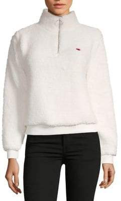 Topshop PETITES Borg Heart Embroidered Sweatshirt