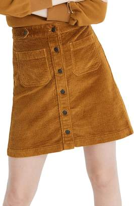 Madewell Button Front A-Line Corduroy Skirt