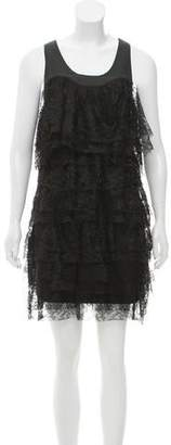 Robert Rodriguez Leather-Accented Lace Dress