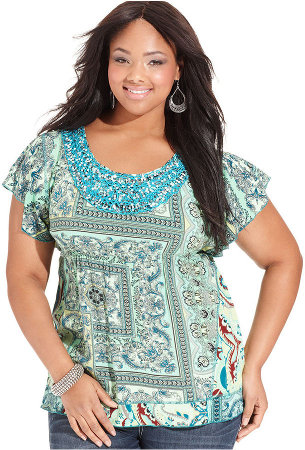One World Plus Size Top, Short-Sleeve Printed Sequin Applique