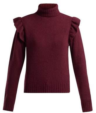 Masscob Ada Ruffled Roll Neck Wool Blend Sweater - Womens - Burgundy
