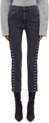 3x1 'Corset' hook-and-eye outseam cropped jeans