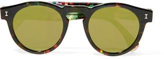 Illesteva - Leonard Round-frame Acetate Mirrored Sunglasses - Tortoiseshell $175 thestylecure.com