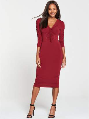 Very Ruched Front Ity Bodycon Dress - Burgundy