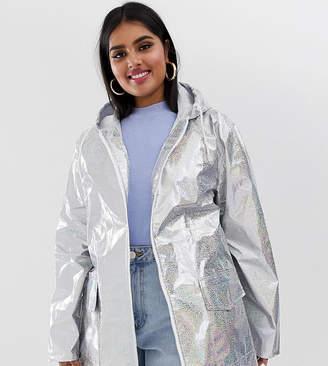 Brave Soul Plus glitter holographic festival rain mac in silver