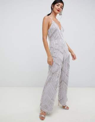 Asos EDITION fringe & pearl embellished jumpsuit with wide leg