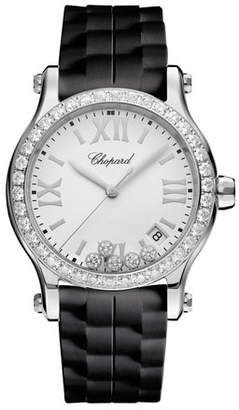 Chopard 36 mm Happy Sport Medium Stainless Steel Watch with Diamonds