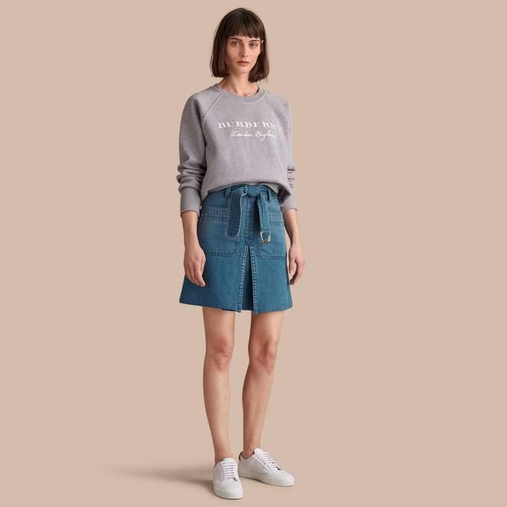 Burberry Patch Pocket Denim A-line Skirt