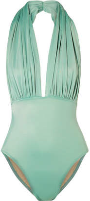 Norma Kamali Mio Ruched Halterneck Swimsuit - Gray green