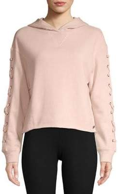 Andrew Marc Performance Lace-Up Sleeve Crop Hoodie