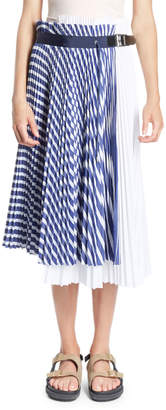 Sacai Striped-Print Paneled Pleated Midi Wrap Skirt