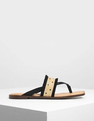 Charles & Keith Raffia Frayed Sandals