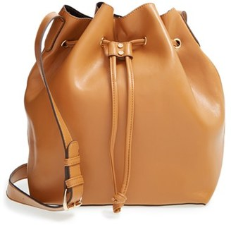 Sole Society 'Nevin' Faux Leather Drawstring Bucket Bag - Brown $64.95 thestylecure.com