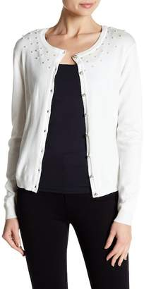 Joseph A Faux Pearl Accented Cardigan