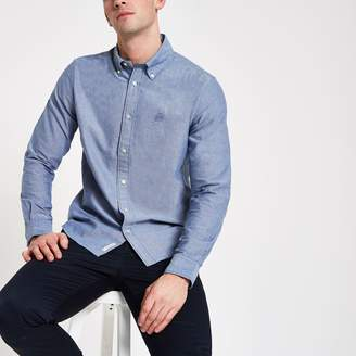 River Island Mens Navy long sleeve Oxford shirt