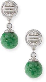 David C.A. Lin Carved Green Jade Bead Drop Earrings with Diamonds