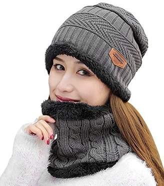 10aac71b5102 HINDAWI Womens Beanie Winter Hat Scarf Set Warm Snow Slouchy Knit Skull Cap  Grey