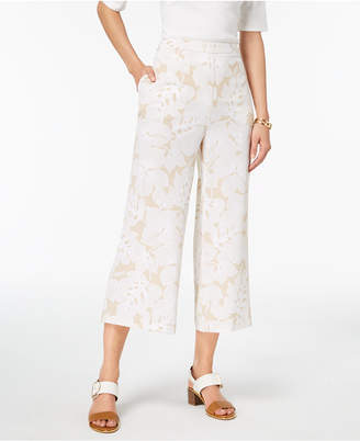 Tommy Hilfiger Floral-Print Wide-Leg Cropped Pants, Created for Macy's