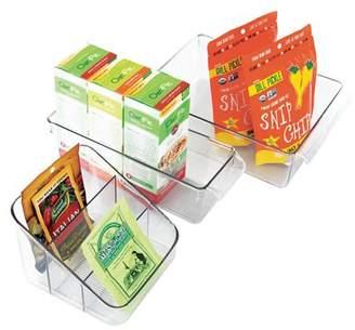 InterDesign Kitchen Storage and Organization Bins with Handles, Set of 3, Clear