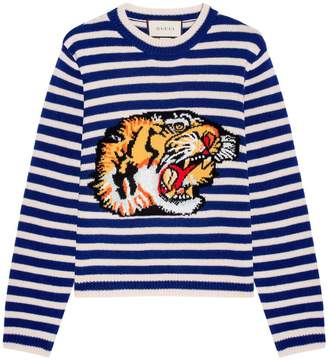 Gucci Tiger Striped Wool Knit Top