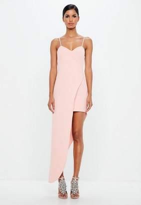 Missguided Pink Asymmetric Hem Wrap Dress