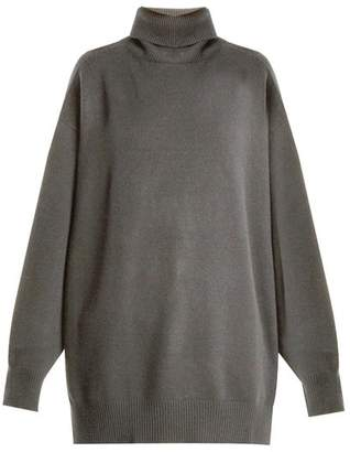 Raey Split Side Roll Neck Cashmere Sweater - Womens - Grey