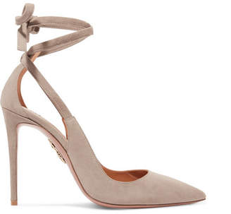 Aquazzura Milano Cutout Suede Pumps - Light gray