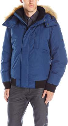 Andrew Marc Men's Bristol Down Bomber with Removable Faux Fur Trimmed Hood