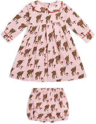 Rachel Riley Deer Print Dress with Bloomers