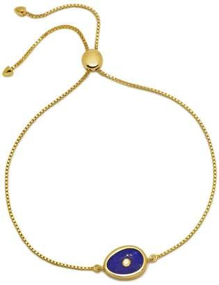 Lola Rose London - Curio Diamond Mini Oval Slider Bracelet Lapis Lazuli