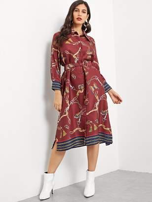Shein Chain Print Belted Slit Side Shirt Dress