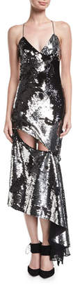 Milly Fractured Sequin Sleeveless Bias-Cut Cocktail Slip Dress