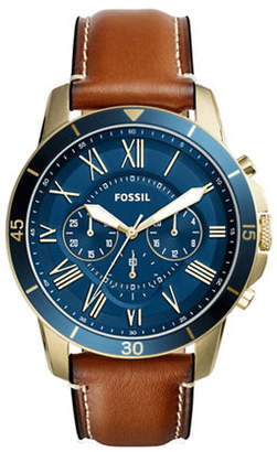 Fossil Chronograph Grant Sport Two-Tone Leather Strap Watch