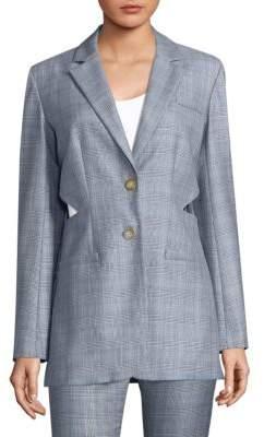 Tibi Checkered Cut-Out Blazer