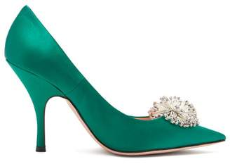 Rochas Crystal Embellished Satin Pumps - Womens - Dark Green