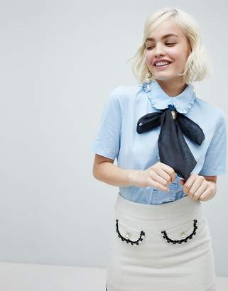 Sister Jane blouse with cameo broach pussybow and frill collar
