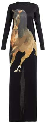 Marques Almeida Marques'almeida - Horse Print Jersey Maxi Dress - Womens - Black Multi