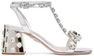 Miu Miu Silver Cube Heeled Sandals
