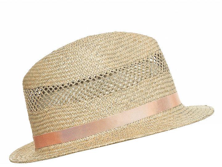 Blush Band Straw Trilby Hat