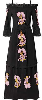 Figue Noelle Cold-shoulder Crochet-trimmed Embroidered Cotton-gauze Maxi Dress - Black