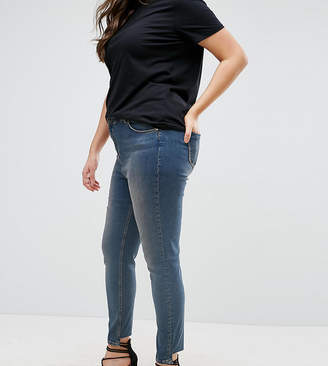 Asos Lisbon Skinny Mid Rise Jean in Dita Tinted Mid Wash with Reverse Stepped Hem