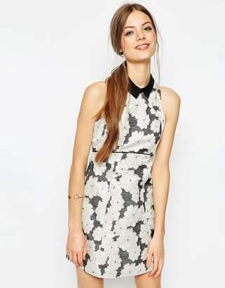 Asos DESIGN Jacquard Shift Mini Dress With Collar