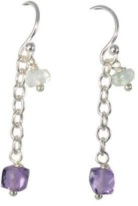 690a18133 Camilla And Marc Jane Davis Sterling Silver Amethyst and Aquamarine Drop  Earrings of length 3.5 cm