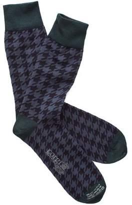 Corgi Houndstooth Socks in Navy