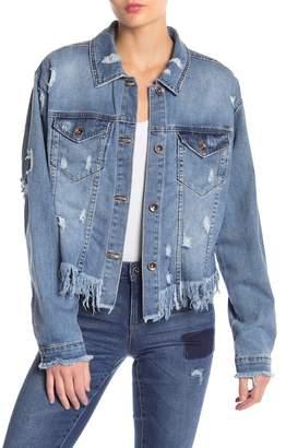 Tractr Frayed Hem Cropped Denim Jacket