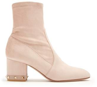 Valentino Rockstud Suede Ankle Boots - Womens - Nude