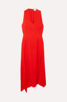 Victoria Beckham Asymmetric Crepe Midi Dress - Red