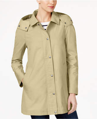 Tommy Hilfiger Water-Resistant Hooded Snap-Front Raincoat $180 thestylecure.com
