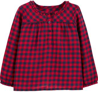 Osh Kosh Oshkosh Bgosh Toddler Girl Gingham Henley Top