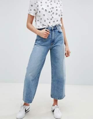 Pull&Bear wide leg denim jean in blue